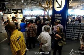 Elderly customers in Ikea canteen