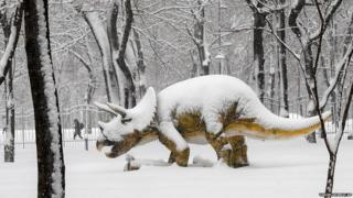 A woman walks on a snowy path by a life-size model of a dinosaur, which is covered in snow
