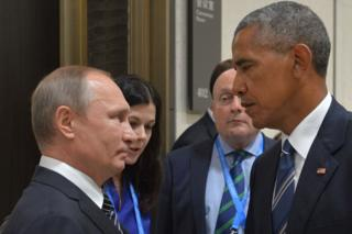 Russian President Vladimir Putin (L) meeting his US counterpart Barack Obama on the sidelines of the G20 Leaders Summit in Hangzhou. 30 December