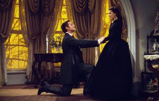 Epic romance - Rhett Butler and Scarlett O'Hara (Clark Gable and Vivien Leigh) in Gone with the Wind, 1939