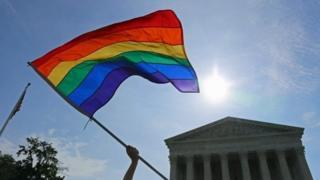 Rainbow gflag flies at SCOTUS