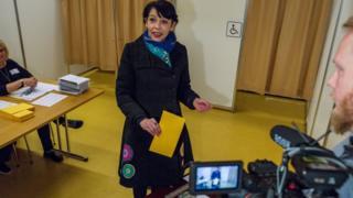 Pirate Party MP Birgitta Jonsdottir votes in Reykjavik. 29 Oct 2016