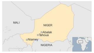 Map of Niger showing Abalak