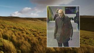 CCTV of David Lytton superimposed on the moor where he died