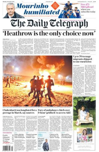 Daily Telegraph front page - 24/10/16