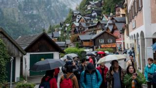 Tourists in Hallstatt