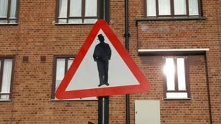 """""""Beware of Jews"""" road sign"""
