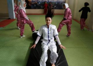 Students of the Shaolin Wushu club, practices in Kabul, Afghanistan.