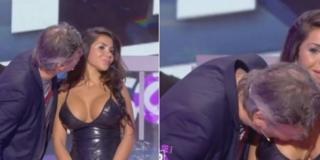 Jean-Michel Maire kisses Soraya on the breast