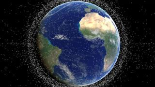 Reprodução do lixo na órbita da Terra