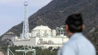 A resident looks at fast-breeder reactor Monju in Tsuruga, Fukui prefecture, on the Sea of Japan coast