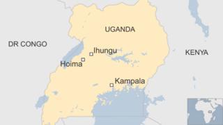 Map showing location of Hoima and Ihungu in Uganda