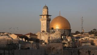 """The Dome of the Rock, in the compound known to Muslims as al-Haram al-Sharif (Noble Sanctuary) and to Jews as Temple Mount, in Jerusalem""""s old city"""
