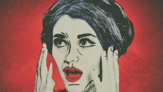Un dibujo de una mujer en expresión de asombro y preocupación