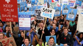 Demonstrators at a rally and protest march for junior doctors in London