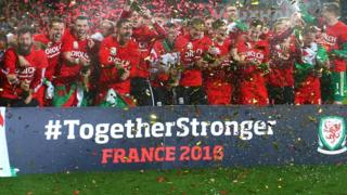 Wales celebrate qualifying for the 2016 European Championships