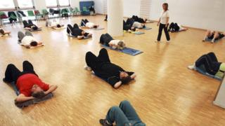 Exercise class for overweight adults