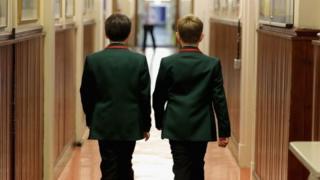 Schoolboys make their way to class at Altrincham Grammar School for Boys