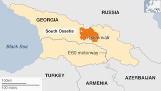 Map of South Ossetia with E60 motorway through Georgia