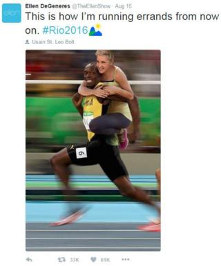 """""""This how I'm running errands from now on,"""" tweeted Ellen DeGeneres with pic of her on Usain Bolt's back"""