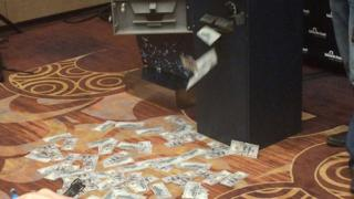 Dollar bills were dispensed from an ATM using the hack