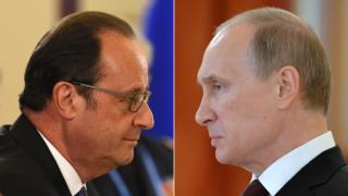 Composite image of Putin an Hollande