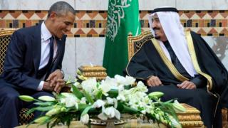 US President Barack Obama meets King Salman in Riyadh, Saudi Arabia (27 January 2015)