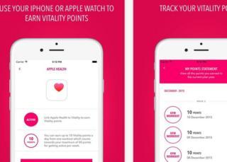Vitality app screen shots