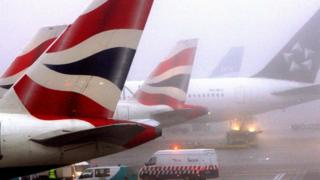 Planes in foggy weather