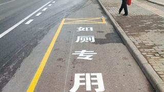 A close up of on of the parking spaces with text in Chinese reading: Special toilet use