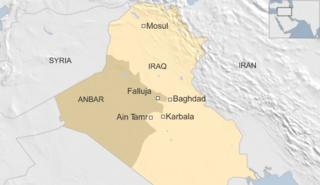 Map of Iraq showing Baghdad, Ain Tamr and Falluja