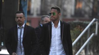 Neymar of FC Barcelona leaves the National Court in Madrid (02 February 2016)