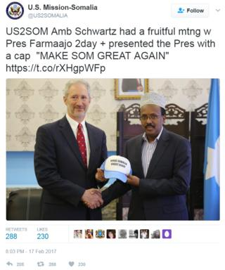 Screengrab of tweet by the US Mission to Somalia