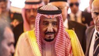 Saudi Arabia's King Salman bin Abdulaziz Al Saud heads to his car at the end of a welcome ceremony at Parliament Square, in Kuala Lumpur, Malaysia, 26 February 2017