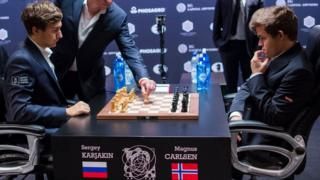 Magnus Carlsen, right, Norwegian chess grandmaster and Sergey Karjakin, Russian grandmaster during their finals games. 30 Nov 2016
