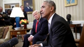 President Obama - sitting with President-elect Trump