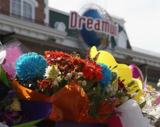 Flowers placed outside Dreamworld on Queensland's Gold Coast