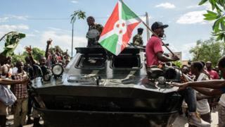 burundi failed coup celebrations on a tank