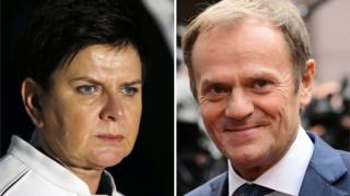 Polish Prime Minister Beata Szydlo (left) and European Council President Donald Tusk