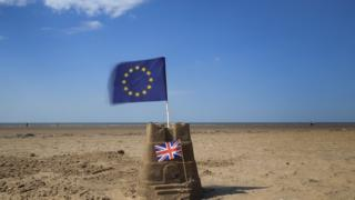 EU and UK flags on beach