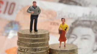 Modelos de plástico de un hombre y una mujer están parados sobre una pila de monedas y billetes.