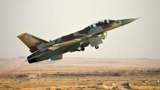 An Israeli F-16 fighter jet