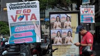 Election posters in Venezuela on 30 November, 2015.
