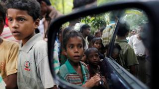Rohingya Muslim boys stand in U Shey Kya village outside Maungdaw in Rakhine state, Myanmar October 27, 2016