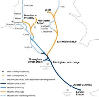 Map of new HS2 route