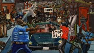 The painting depicts two police officers as pigs, and a protester as a wolf.