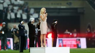 Katherine Jenkins sings 'God Save the Queen' prior to the NFL International Series match between the New England Patriots and the St Louis Rams at Wembley Stadium on 28 October 2012 in London, England