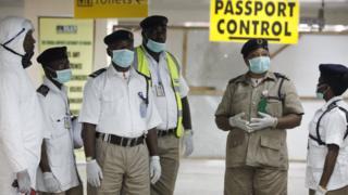 Ebola checks at Lagos airport, Nigeria. 4 Aug 2014