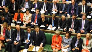 George Osborne at despatch box with Conservative MPs behind him