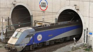 Train leaving the Eurotunnel